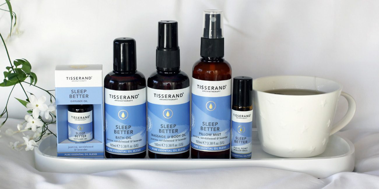 Tisserand Aromatherapy Sleep Better collection. A blissful blend of Jasmine, Sandalwood and Lavender essential oils